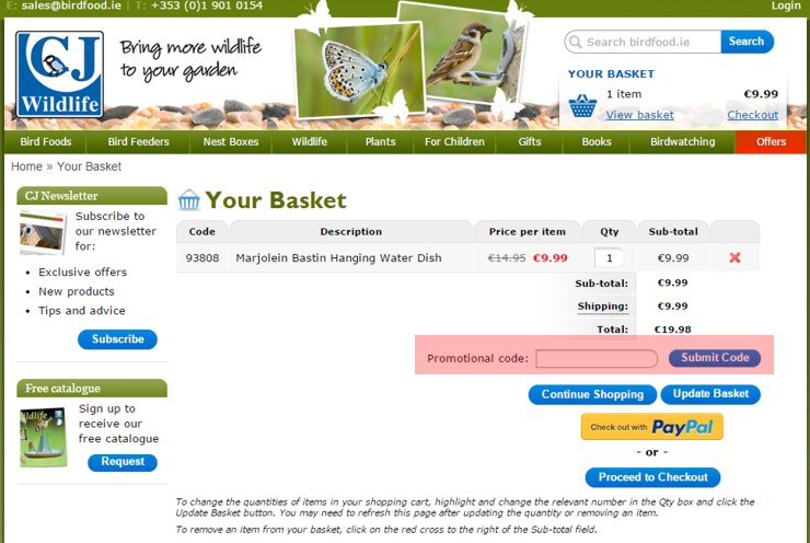 redeeming birdfood.ie voucher-code