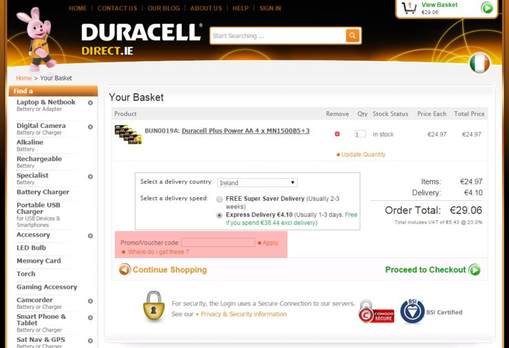 redeeming duracelldirect.ie voucher-code