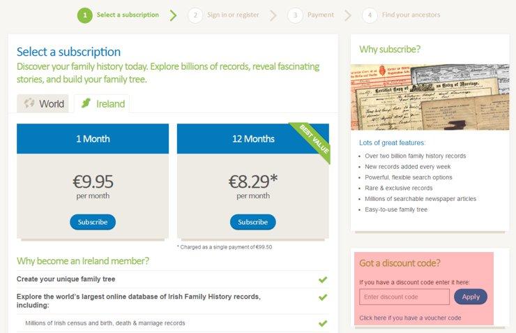 redeeming findmypast.ie voucher-code