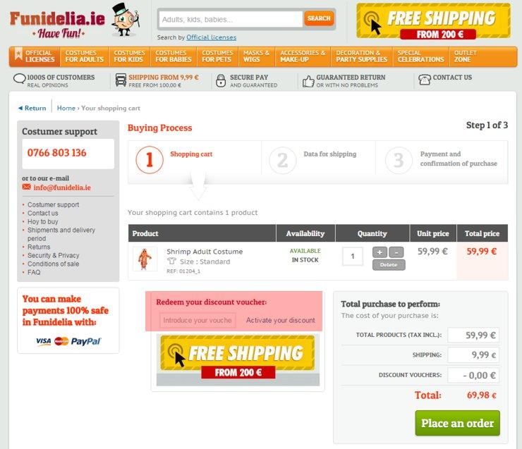 redeeming funidelia.ie voucher-code
