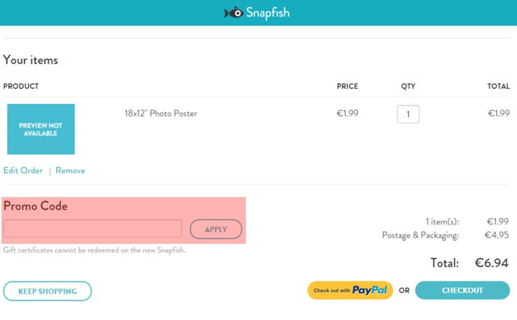 redeeming snapfish.ie voucher-code