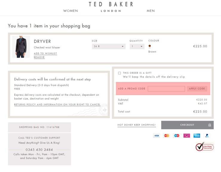 redeeming tedbaker.com voucher-code